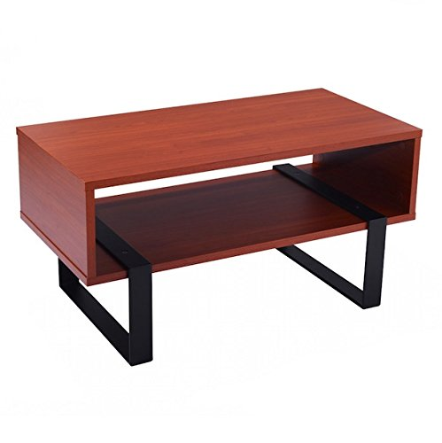 Wooden Coffee End Table With Storage Shelves Metal Stand Rectangle Modern Living Room Furniture Home Décor Durable And Stable Rust-Proof And Anti-Aging