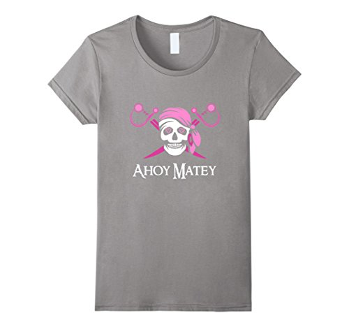 Womens Pink Pirate Ahoy Matey Jolly Roger Skull T-Shirt Small Slate