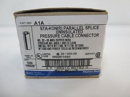 Sta Kon Wire Connectors | Sta Kon Paralle Splice Uninsulated Pressure Cable Connector No 22