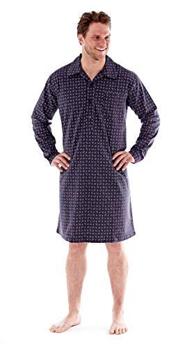 harvey james Mens Pure Cotton Paisley Flannel Nightshirt MN95 Grey Large