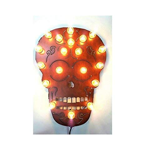 (Halloween Day of the Dead Sugar Skull Marquee Lighted Sign made out of rusted)