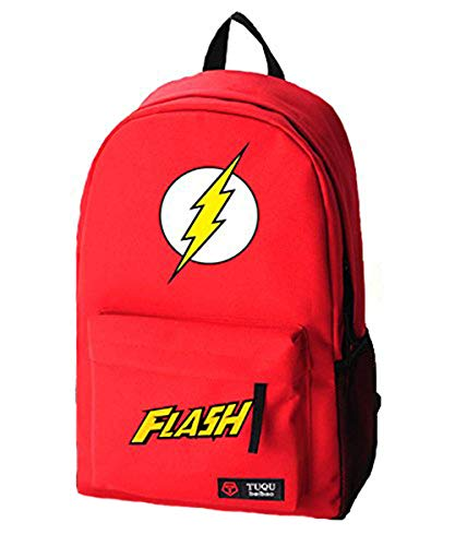 Timmor Flashs Logo Red Boys Canvas Schoolbag, Lightweight and Durable Backpack for Kids.