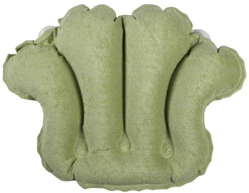 Price comparison product image Deluxe Comfort Terry Bath Pillow - Spa Quality Terry Cloth - Easily Inflatable With Secure Suctioncups - Hot Tub And Jacuzzi Safe - Bath Pillow, Seaweed Green