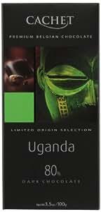 Cachet Uganda, Dark Chocolate (80%), 3.5-Ounce Bars (Pack of 6)