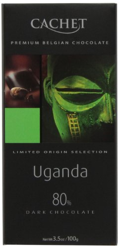 Cachet Uganda, Dark Chocolate (80%), 3.5-Ounce Bars (Pack of 6)
