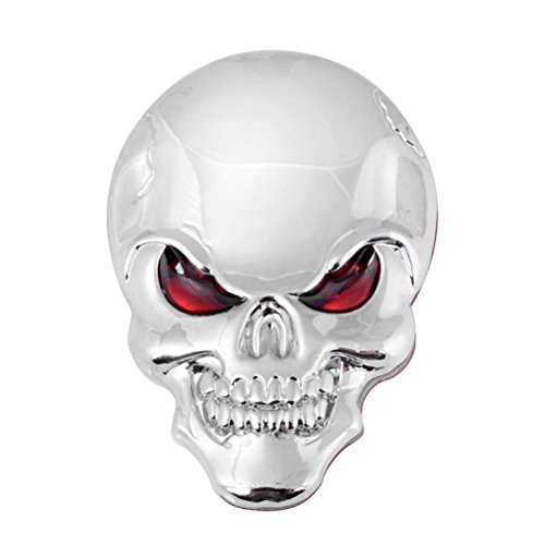 - Universal 3D Chrome Silver Bone Red Eyes Metal Skull Emblem Sticker Decal Car Motorcycle Fender Hood