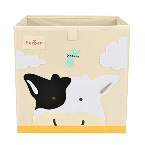 Perber Collapsible Storage Cubes Bin 13x13x13,Decorative Foldable Oxford Storage Box Baskets Containers- Large Organizer for Nursery Toys,Kids Room,Towels,Baby Clothes, Beige- Cows