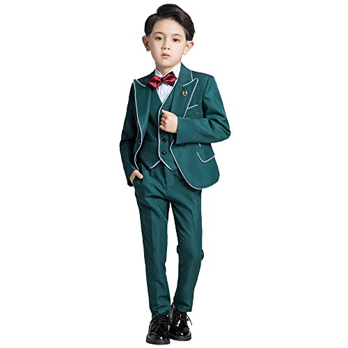Yuanlu 5 Piece Toddler Suits for Boys Tuxedo with Peak Lapel Blazer Pants Vest Shirt and Bowtie Green Size (Kids Green Blazer)