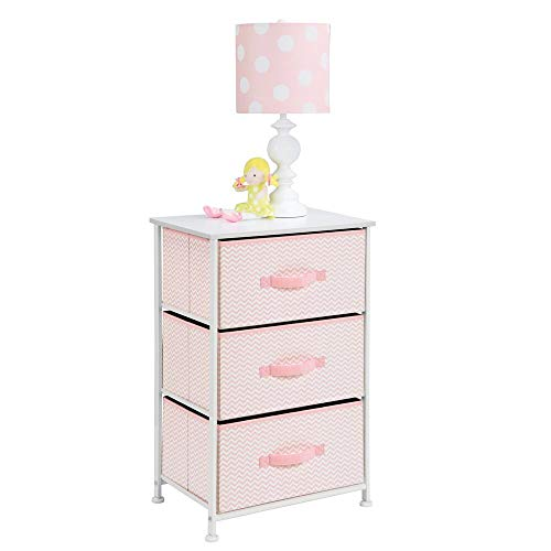 (mDesign Vertical Dresser Storage Tower - Sturdy Steel Frame, Wood Top, Easy Pull Fabric Bins - Organizer Unit for Child/Kids Bedroom or Nursery - Chevron Zig-Zag Print - 3 Drawers - Pink/White)