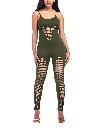 Sexy Military Outfits (Luluka Women's Spaghetti Strap Cut Out Hole Bodycon Jumpsuits Clubwear Outfit US Large Army Green)
