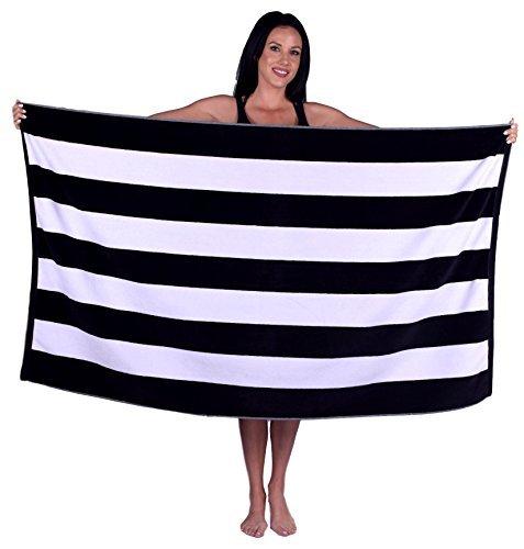Cabana Stripe Terry Velour Beach Towel (1 Towel, Black)