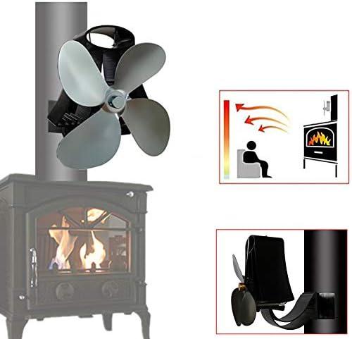 火力発電煙突ファン、静かで環境に優しいwoodストーブファン、woodストーブと暖炉用の4ブレード煙突ファン,グレー