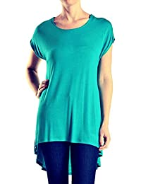TheLovely Scoop Neck Short Sleeve Hi-Low Hem Long Tunic Top