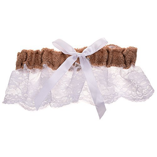 BCP Burlap and White Lace Bowknot Bridal Wedding Garter