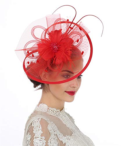 Lucky Leaf Women Girl Fascinators Hair Clip Hairpin Hat Feather Cocktail Wedding Tea Party Hat (8-Red) ()