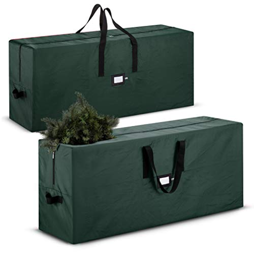 2-Pack, Christmas Tree Storage Bag - Fits Up to 7 Foot. Tall Artificial Disassembled Trees, Durable Handles & Sleek Dual Zipper - Holiday Xmas Duffle Bag, 420D Oxford Fabric (Green)