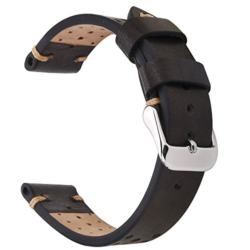Leather 70's Watch Band (EACHE 18mm Genunie Leather Watch Band Black Vegetable-Tanned Leather Perforated Replacement Wrist Strap)