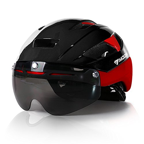 Base Camp Moon Road Bike Helmet with Removable Eye Shield Visor for Adult Cycling - Medium Size 21.75-23.25 Inches (Glossy Black/Red)