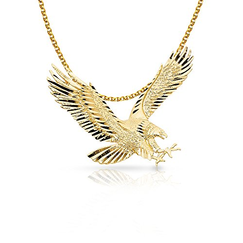 14K Yellow Gold Eagle Charm Pendant with 1.7mm Flat Open Wheat Chain Necklace - 20