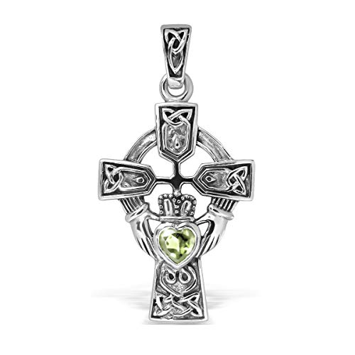 WithLoveSilver Sterling Silver 925 Celtic Cross and Claddagh Simulated Cubic Zirconia Pendant