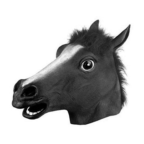 - MinXiao Horse Head Latex Mask Animal Zoo Funny Halloween Party Costume Prop Novel