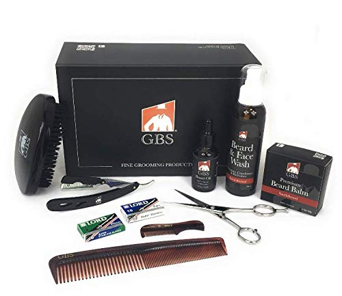 GBS Premium Beard Grooming and Trimming Kit for Men - Deluxe Gift Box - Sandalwood Face & Beard Wash, Wax Butter Balm, Beard Growth Oil, Barber Scissors, Cut Throat Shavette Razor, Combs + DE Blades!