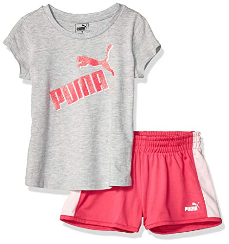 PUMA Toddler Girls' Short Set, Light Heather Grey 2T