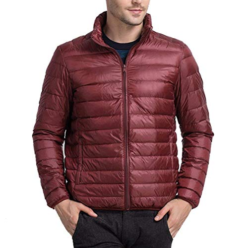 Winter Jacket Larga Lightweight Boys Manga Abrigo Rojo Down De Alto Abrigos Warm Oscuro Mens Abrigo Estilo Lanceyy Cuello Outwear Simple wqBEn611x
