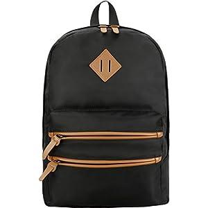 Gysan Lightweight Waterproof Travel Backpack 15 Inch Laptop for Womens Mens Boys Girls College School Bookbags, Black