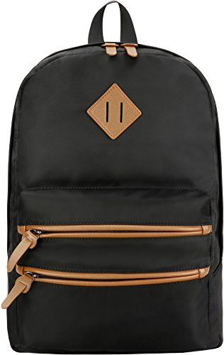 Gysan Lightweight Water Resistant College Backpack Book Bags Travel Rucksack Fit 15 Inch, Black ()