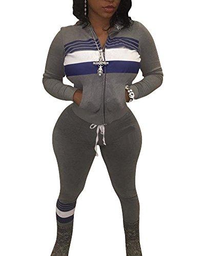 Mujer Deportivos Chándal Ocio Cremallera Sweatshirt Pantalones de Deporte Traje Gris