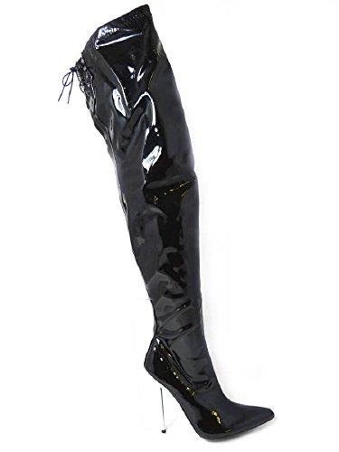 Lace sopra spillo da stivali uomo sexy Up tacco il Back il a ginocchio con fetish Thigh Fetish Black Kinky OYtxBB
