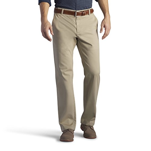 - LEE Xtreme Comfort Khaki Stretch Straight Fit Flat Front Pant Pebble 40x34