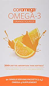 Coromega Omega-3 Supplement, Orange Flavor, Squeeze Packets, 90-Count Box