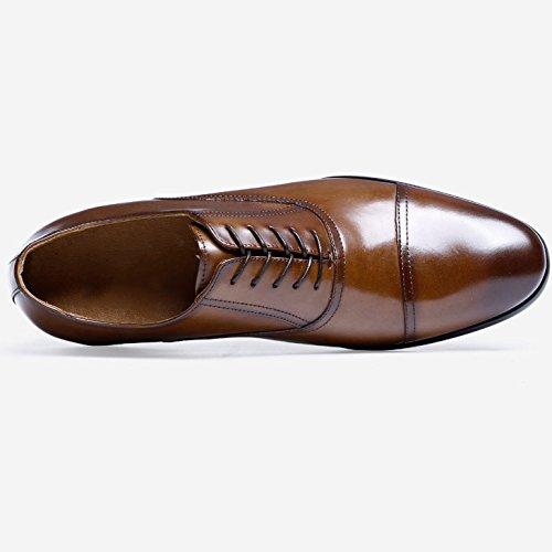 RENHONG Robe Marron Noire pour Homme Chaussures à Lacets Oxford Business Maroquinerie en Cuir Mariée Toe Derby à Bout Pointu Brown TaftH