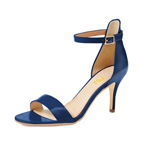 Strap Ankle 4 Women Size Low FSJ Blue US for Sandals Open Vintage Heels 15 with Comfort Shoes Toe fwq0Ydw