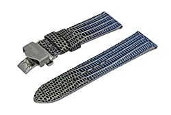 18mm Blue & Gold Lizard Emboss Italian Leather Watchband With Brushed Stainless Steel Deployment Buckle