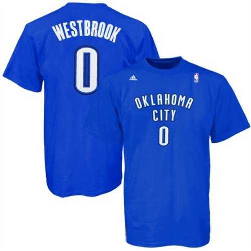 buy popular 25349 720f2 adidas Russell Westbrook Oklahoma City Thunder Royal Blue Jersey Name and  Number T-Shirt
