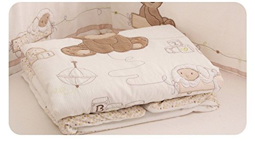 JACKBABYBABY Unisex Baby Bedding Set Cotton 3D Embroidery Bear Quilt Pillow Bumper Bed Sheet 5 Pieces Crib Bedding Set White Color by JACKBABYBABY (Image #4)