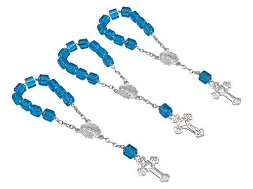 25 Pc Baptism Favors Mini Rosaries Turquoise with Silver Plated Accents/communion Favors Recuerditos De Bautismo/Christening Favors/Decenarios/ Decades/Finger Rosaries ()