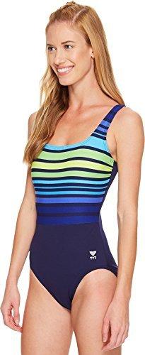 TYR Women's Ombre Stripe Aqua Control Fit Swimsuit, 10, 405 Navy/Green