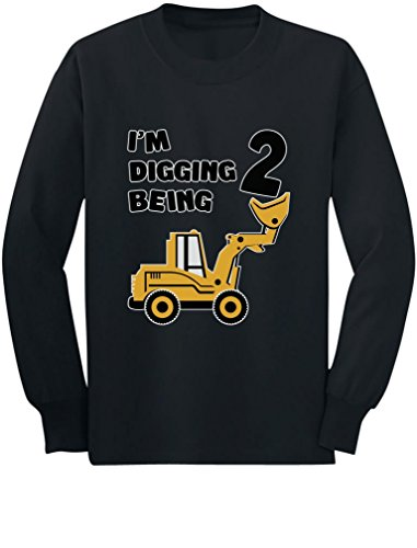 2nd Birthday - Bulldozer Construction Party Toddler Toddler/Kids Long Sleeve T-Shirt 2T Black