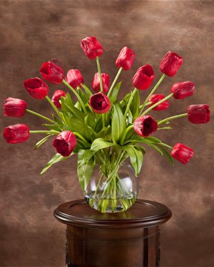 Abundance of Tulips Silk Centerpiece - Red by Petals Silkflowers