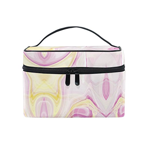 Flat Marbles Net - Makeup Bag Pink Abstract Marble Travel Cosmetic Bags Organizer Train Case Toiletry Make Up Pouch