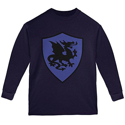 Halloween Knight Shield Costume Dragon Youth Long Sleeve T Shirt Navy YXL ()