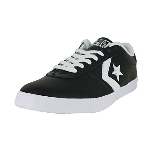 Black Star Shoes - Converse Men's Point Star Leather Low Top Sneaker, Black/Black/White, 11 M US