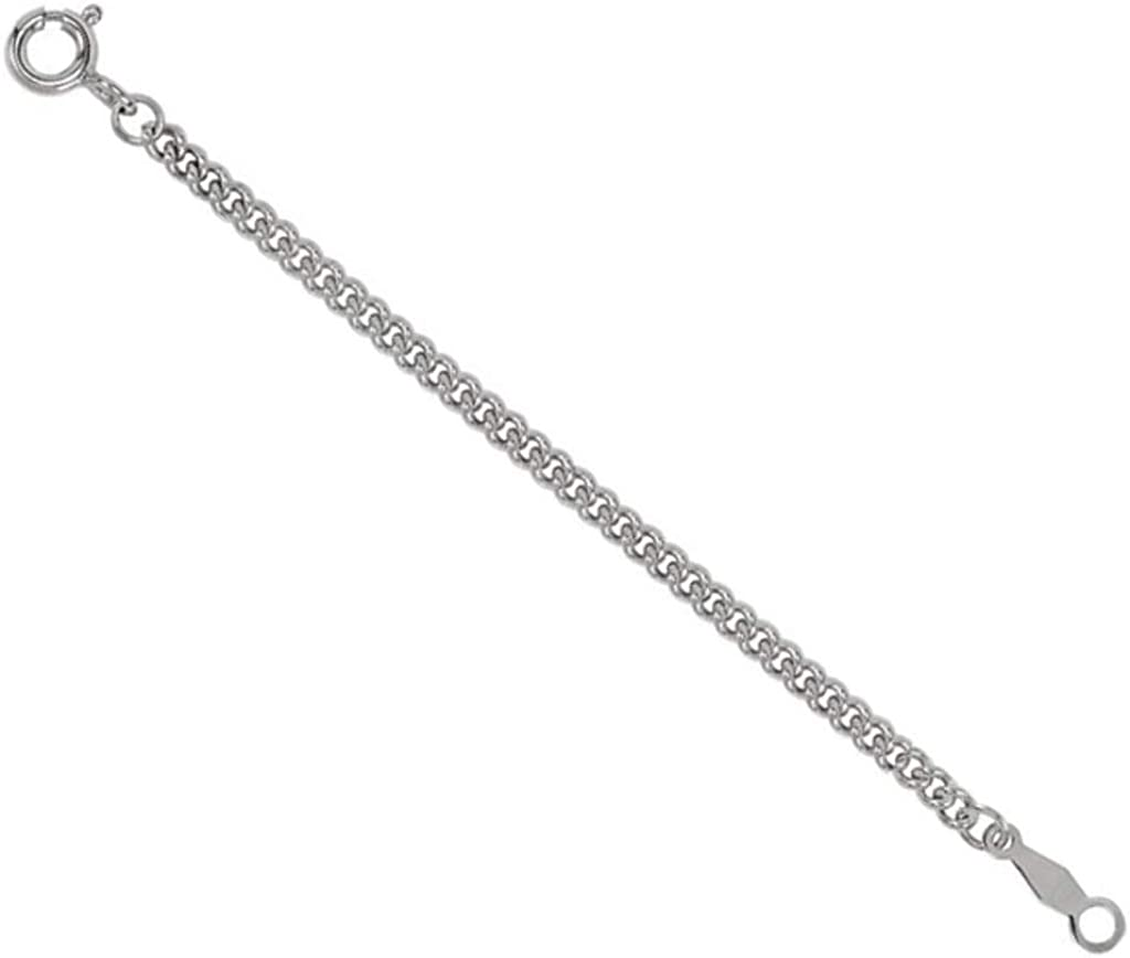 Sterling Silver 2.25mm Curb Chain Necklace Extender Safety Chain 2.75