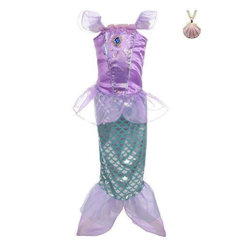 Lito Angels Girls' Princess Mermaid Ariel Dress Up Costume Fairy Tales Mermaid Outfit with Necklace Size 4T Purple -