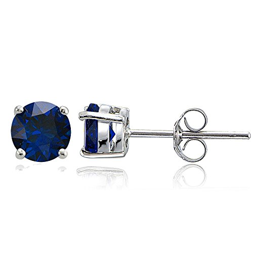 Sterling Silver Created Blue Sappire 6mm Round Stud Earrings