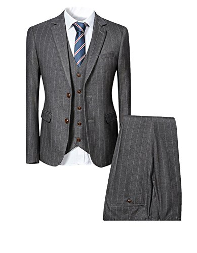 Cloudstyle Mens 3 Piece Pinstripe Slim Fit Wedding Suits Single Breasted Smart Formal (Pinstripe Men Suit)
